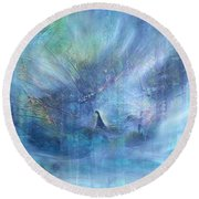 'little Girl Lost' Round Beach Towel