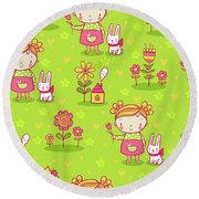 Little Girl With Her Rabbit On A Green Field Round Beach Towel