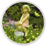 Little Girl With Pail Round Beach Towel