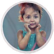 Little Girl With Purse Round Beach Towel
