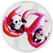 Little Glass Pandas 44 Round Beach Towel