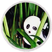 Little Glass Pandas 59 Round Beach Towel