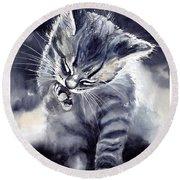 Little Grey Cat Round Beach Towel