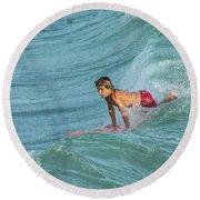 Little Guy Big Wave Round Beach Towel