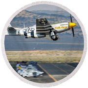 P51 Mustang Little Horse Gear Coming Up Friday At Reno Air Races 5x7 Aspect Signature Edition Round Beach Towel