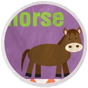Little Horse Round Beach Towel by Linda Woods