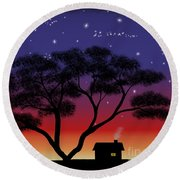 Little House At Sunset Round Beach Towel