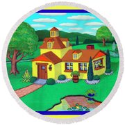 Little House On The Green Round Beach Towel by Snake Jagger