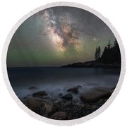 Little Hunters Cove At Night Round Beach Towel