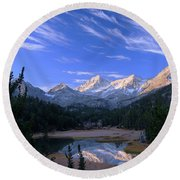 Little Lakes Valley Panorama Round Beach Towel