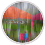 Little League Football Round Beach Towel