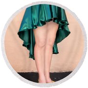 Ameynra Fashion Satin High Low Skirt, Dark-green Round Beach Towel