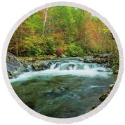 Little Pigeon River Flows In Autumn In The Smoky Mountains Round Beach Towel