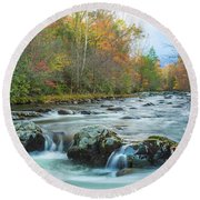 Little Pigeon River Great Smoky Mountains National Park In Fall Round Beach Towel