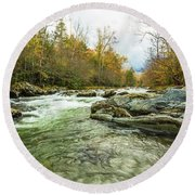 Little Pigeon River Greenbrier Area Of Smoky Mountains Round Beach Towel