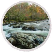 Little Pigeon River In Autumn In Smoky Mountains In Autumn Round Beach Towel