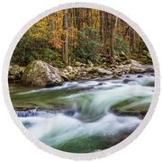 Little Pigeon River In Fall In The Smokies Round Beach Towel