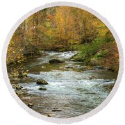 Little Pigeon River In Fall Smoky Mountains National Park Round Beach Towel