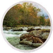 Little Pigeon River In The Greenbrier Section Of Smoky Mountains Round Beach Towel
