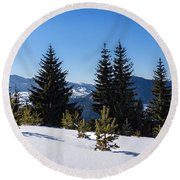 Little Pine Forest - Impressions Of Mountains Round Beach Towel