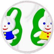 Little Rabbit Boy And Rabbit Girl Round Beach Towel