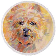 Little Ray Of Sunshine Round Beach Towel by Kimberly Santini