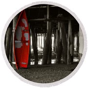 Little Red Boat IIi Round Beach Towel