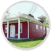 Little Red Schoolhouse, Council Grove Round Beach Towel