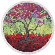 Little Red Tree Round Beach Towel