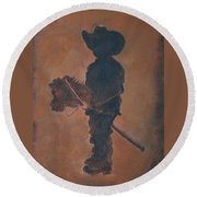 Little Rider Round Beach Towel by Leslie Allen