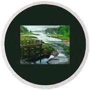 Little River Gloucester Study Round Beach Towel