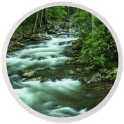 Little River Tremont Area Of Smoky Mountains National Park Round Beach Towel