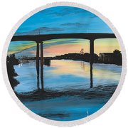 Little River Waterfront Round Beach Towel