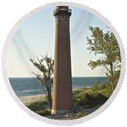 Little Sable Point Light Round Beach Towel