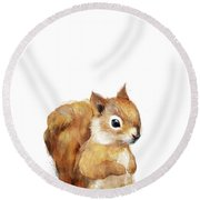 Little Squirrel Round Beach Towel by Amy Hamilton