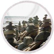 Little Stone Sculptures Round Beach Towel