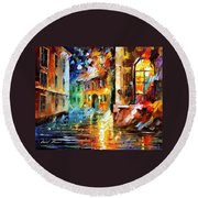 Little Street - Palette Knife Oil Painting On Canvas By Leonid Afremov Round Beach Towel