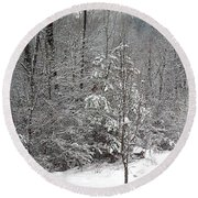 Little Tree Big Snow Round Beach Towel