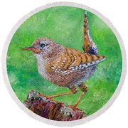 Little Wren Round Beach Towel