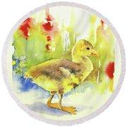 Little Yellow Duck Round Beach Towel