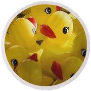 Little Yellow Duckies Round Beach Towel