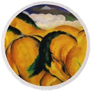 Little Yellow Horses 1912 Round Beach Towel