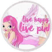 Live Happy Test Round Beach Towel