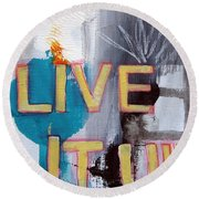 Live It Up Round Beach Towel