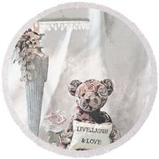 Live, Laugh And Love Bear Round Beach Towel