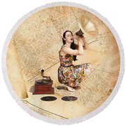 Live Music Pinup Singer Performing On Gig Guide Round Beach Towel