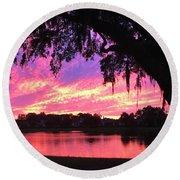 Live Oak Sunset Round Beach Towel