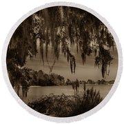 Live Oak Tree Spanigh Moss Sepia Silhouette Round Beach Towel