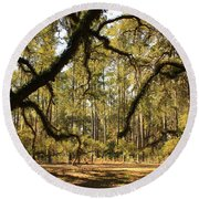 Live Oaks Silhouette Round Beach Towel