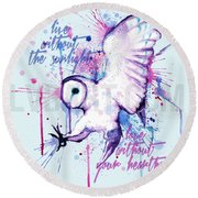 Live Without The Sunlight Owl Round Beach Towel